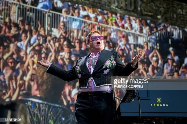 British singersongwriter Elton John performs his Farewell Yellow Brick Road tour on Saturday during the Montreux Jazz Festival on June 29 2019 in...