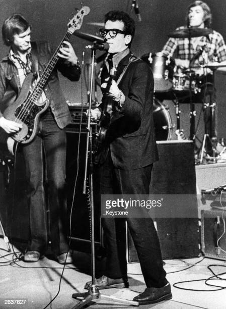 British singersongwriter Elvis Costello on stage with Richard Carpenter during a performance in Stockholm