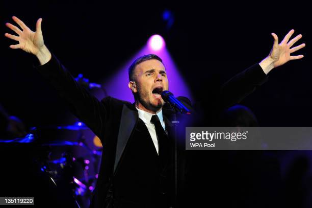 British singersongwriter Gary Barlow performs during a fundraising concert in aid of The Prince's Trust at Royal Albert Hall on December 6 2011 in...
