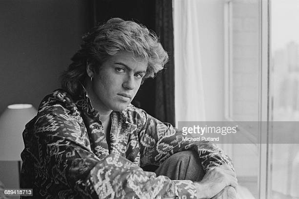 British singer-songwriter George Michael, of Wham!, in a Sydney hotel room during the pop duo's 1985 world tour, January 1985. 'The Big Tour' took in...