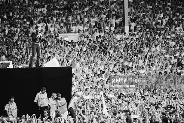 British singersongwriter George Michael of Wham performing at the pop duo's farewell concert entitled 'The Final' at Wembley Stadium London 28th June...