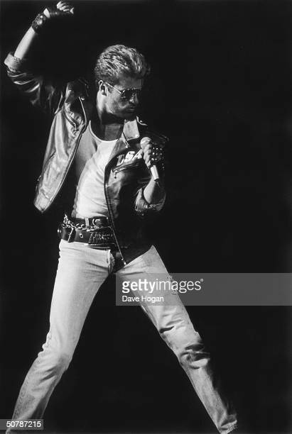 British singer-songwriter George Michael performing on stage, 1988.
