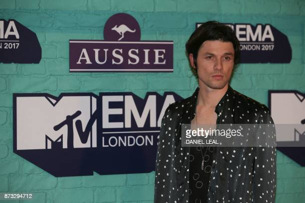 British singersongwriter James Bay poses on the red carpet arriving to attend the 2017 MTV Europe Music Awards at Wembley Arena in London on November...