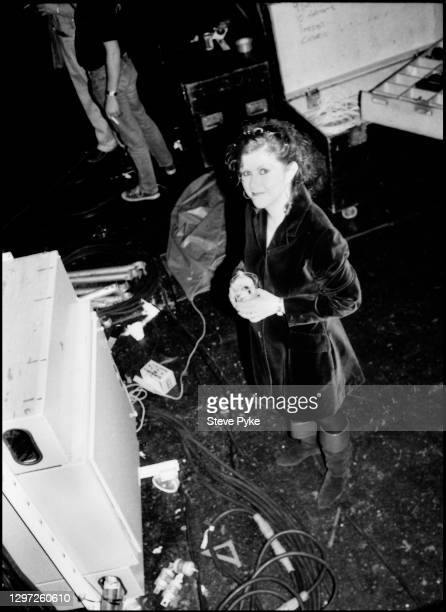 British singer-songwriter Kirsty MacColl backstage during a concert with The Pogues, at the Town and Country Club, London, March 1988.
