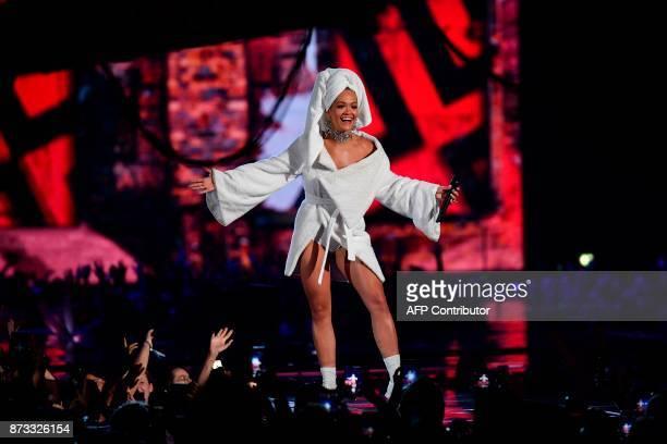 British singersongwriter Rita Ora presents the 2017 MTV Europe Music Awards at Wembley Arena in London on November 12 2017 / AFP PHOTO / Ben STANSALL