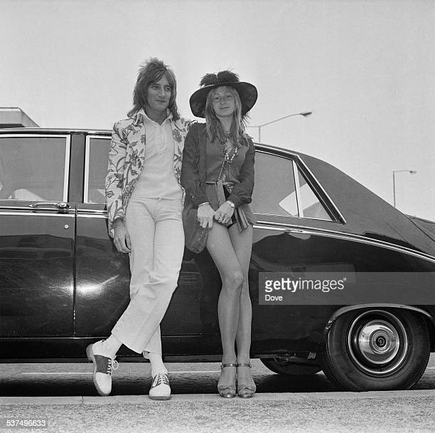 British singersongwriter Rod Stewart and girlfriend fashion model Dee Harrington at London Airport London 20th May 1972