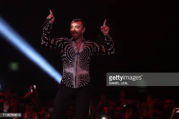 British singer-songwriter Sam Smith performs during the BRIT Awards 2019 ceremony and live show in London on February 20, 2019. / RESTRICTED TO...