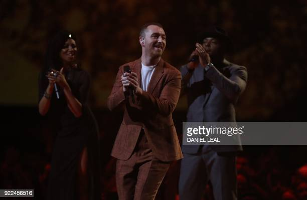 British singersongwriter Sam Smith performs during the BRIT Awards 2018 ceremony and live show in London on February 21 2018 / AFP PHOTO / Daniel...
