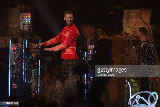British singersongwriter Sam Smith performs with British DJ and musician Calvin Harris during the BRIT Awards 2019 ceremony and live show in London...