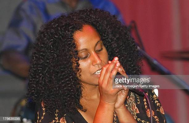 British singersongwriter Susheela Rahman performs at the first annual GlobalFest on the Joe's Pub stage at The Public Theater New York New York...