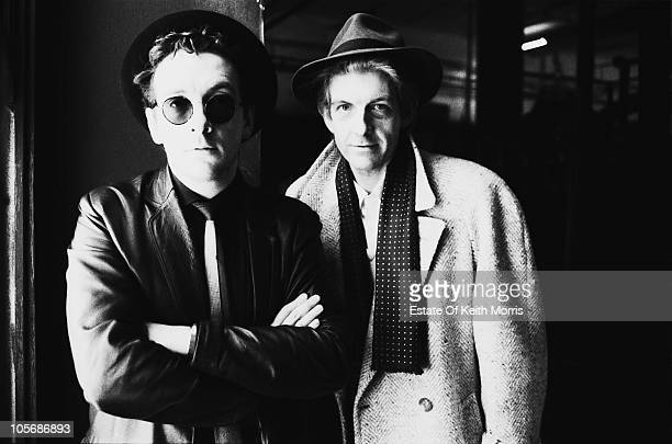 British singer-songwriters Elvis Costello and Nick Lowe, London, 1986.