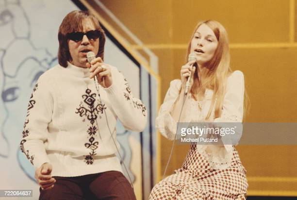 British singing duo Peters and Lee performing in rehearsal on the BBC TV music show 'Top Of The Pops' in London in 1973 They are Dianne Lee and...