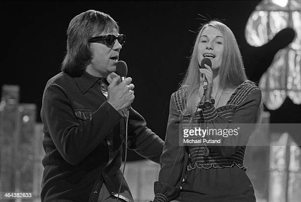 British singing duo Peters and Lee performing on the Christmas Day edition of the BBC TV music show 'Top Of The Pops' broadcast 25th December 1973...