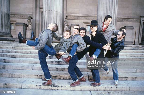 British ska band Madness pose outside St George's Hall, Liverpool, 10th February 1980.