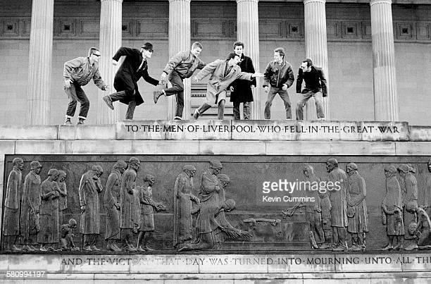 British ska band Madness pose outside St George's Hall Liverpool 10th February 1980 Left to right Chas Smash Mike Barson Suggs Mark Bedford Chris...