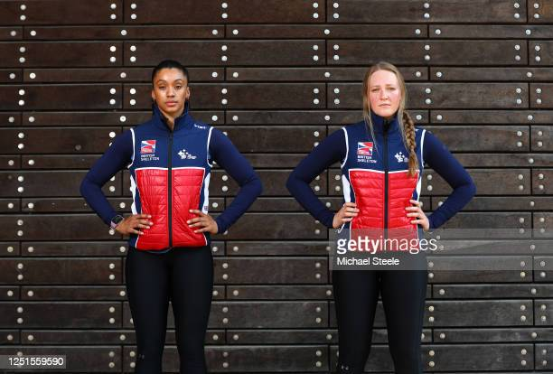 British Skeleton athletes Ashleigh Pittaway and Brogan Crowley pose for a portrait following a workout session at Bath University on June 23 2020 in...