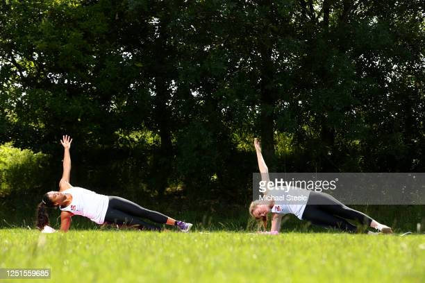 British Skeleton Racers Ashleigh Pittaway and Brogan Crowley during a workout session at Bath University on June 23 2020 in Bath England