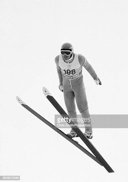British ski jumper Eddie 'The Eagle' Edwards in action during the Winter Olympic Games in Calgary Canada circa February 1988
