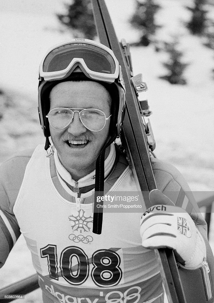 British ski jumper, Eddie 'The Eagle' Edwards, making his way to the ski-lift during the Winter Olympic Games in Calgary, Canada, circa February 1988.