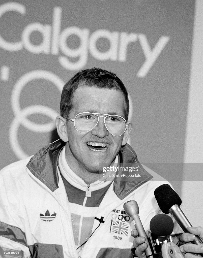 British ski jumper, Eddie 'The Eagle' Edwards, speaking at a media conference during the Winter Olympic Games in Calgary, Canada, 11th February 1988.