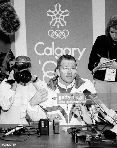 British ski jumper Eddie 'The Eagle' Edwards speaking at a media conference during the Winter Olympic Games in Calgary Canada 11th February 1988