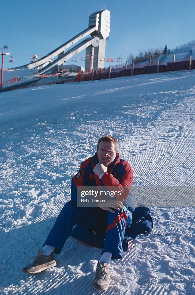 British skier Eddie Edwards, aka Eddie the Eagle, during the 1988 Winter Olympics in Calgary, Alberta, Canada, 22nd February 1988. Edwards competed in the 70m and 90 ski jump events, and finished last in both.