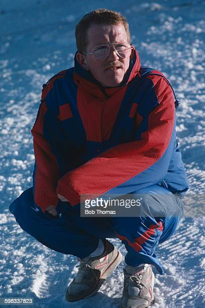 British skier Eddie Edwards, aka Eddie the Eagle, during the 1988 Winter Olympics in Calgary, Alberta, Canada, 22nd February 1988. Edwards competed...