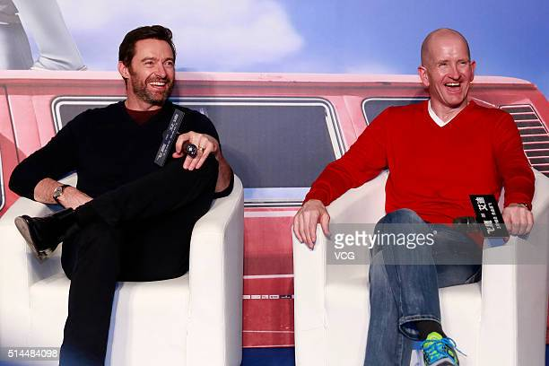British skier Michael Edwards better known as Eddie The Eagle Edwards and Australia actor Hugh Jackman attend a press conference of new movie Eddie...