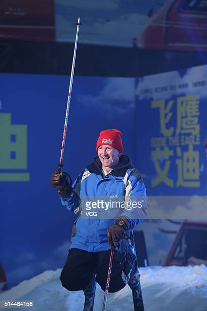 British skier Michael Edwards better known as Eddie The Eagle Edwards attends a press conference of new movie Eddie the Eagle directed by England...