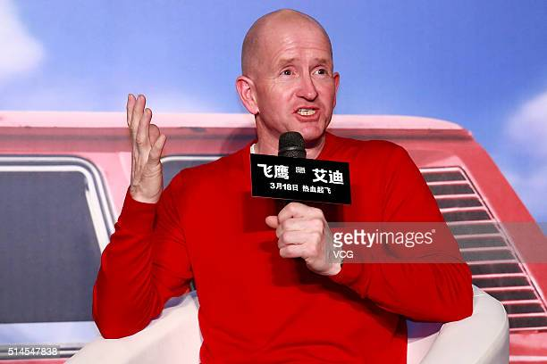 British skier Michael Edwards better known as Eddie The Eagle Edwards attends a press conference of director Dexter Fletcher's film Eddie the Eagle...