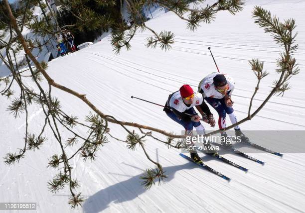 British skiers test their skis prior the qualification round for the men 10km Cross-Country event of the FIS Nordic World Ski Championships on...