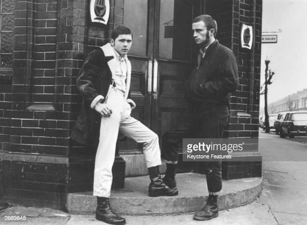 British skinheads outside a pub.