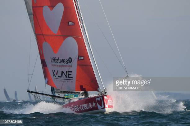 British skipper Samantha Davies onboard her Class Imoca monohull Initiative Coeur takes the start of the Route du Rhum solo sailing race off...