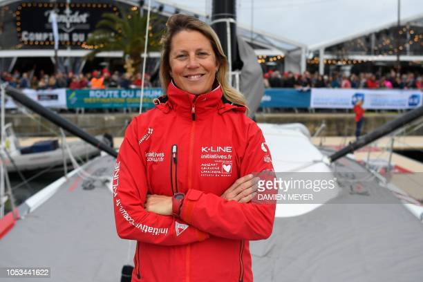 British skipper Samantha Davies poses on her Imoca monohull boat InitiativesCoeur in SaintMalo western France on October 25 few days prior to the...