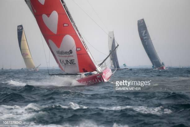 TOPSHOT British skipper Samantha Davies's Imoca monohull initiatives Coeur sails off the coast of SaintMalo on November 4 2018 moments after taking...