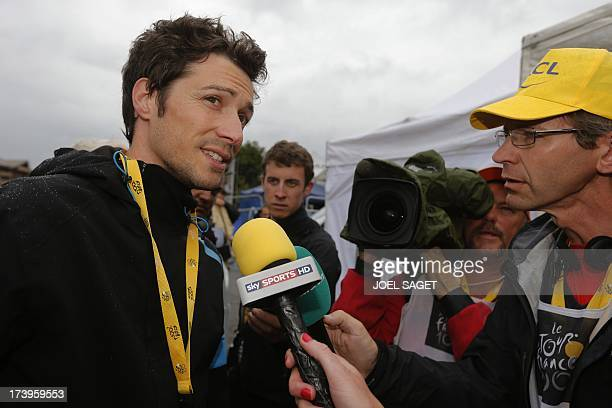British Sky cycling team manager Nicolas Portal speaks to journalists at the end of the 1725 km eighteenth stage of the 100th edition of the Tour de...