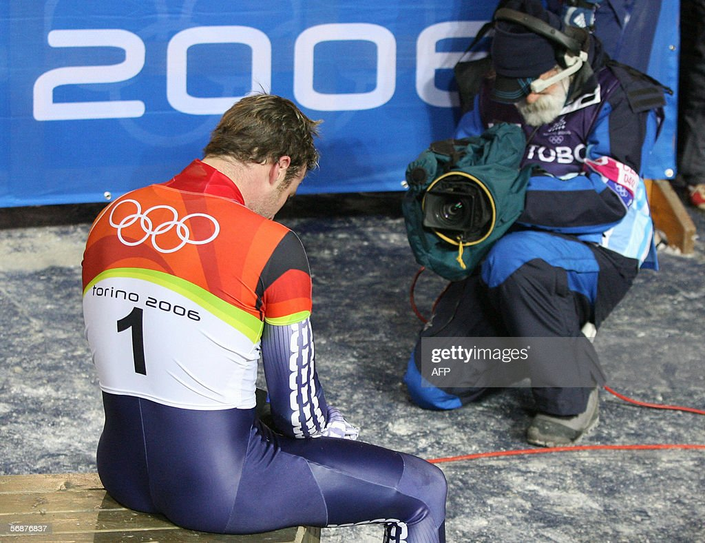 British slider Adam Pengilly is filmed after failing to reach a medal position in the men's skeleton event at the Turin 2006 Winter Olympics in Cesana Pariol, 17 February 2006. Pengilly came seventh.