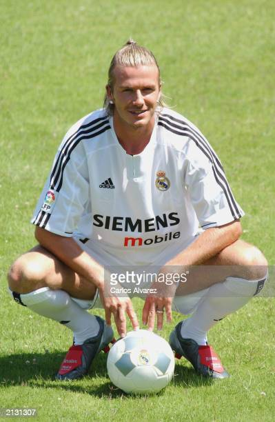 British soccer David Beckham during his presentation as new player of the Real Madrid Football Club July 02 2003 at Raimundo Saporta Stadium in...