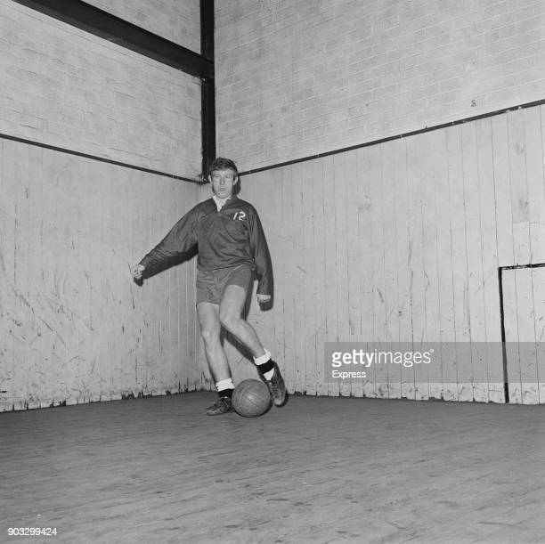British soccer player Alan Hinton of Derby County FC training indoors UK 23rd October 1968