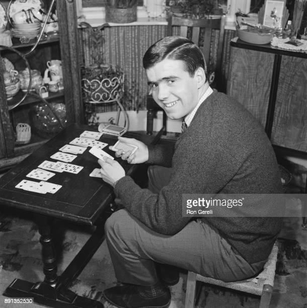 British soccer player Bobby Hope of West Bromwich Albion FC playing solitaire UK 23rd January 1963