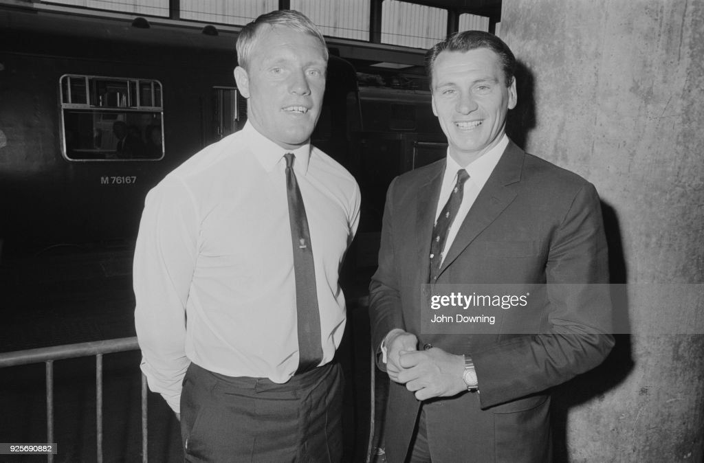 British soccer player Frank Large (1940 - 2003), new signing for Fulham FC, with his new manager Bobby Robson (1933 - 2009), London, UK, 15th June 1968.