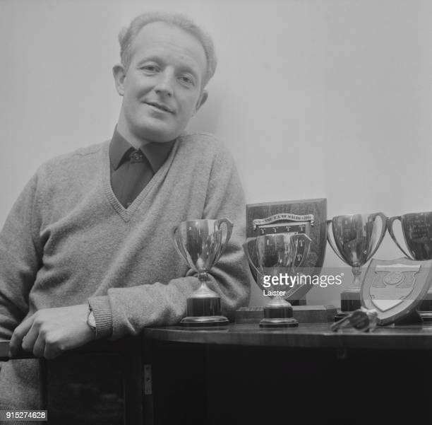 British soccer player Ivor Allchurch of Swansea City AFC with trophies UK 17th February 1968