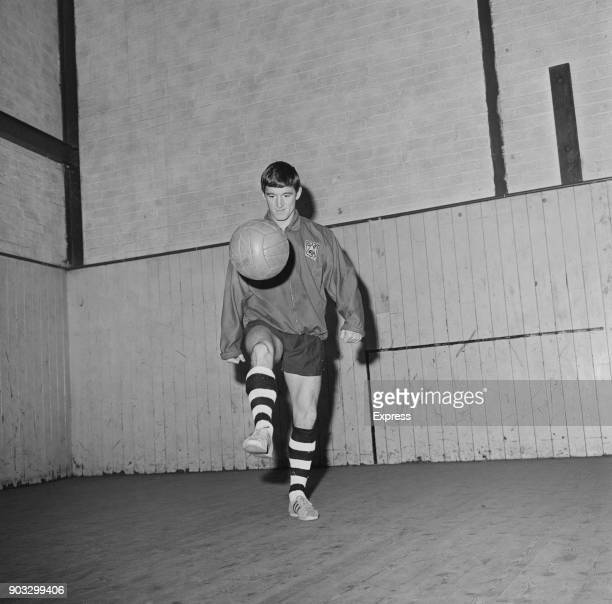 British soccer player Willie Carlin of Derby County FC training indoors UK 23rd October 1968