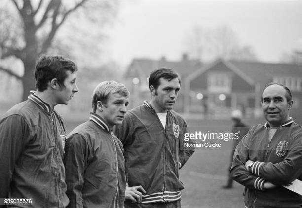 British soccer players John Radford Francis Lee and Jeff Astle and manager Alf Ramsey training with England national football team UK 10th December...