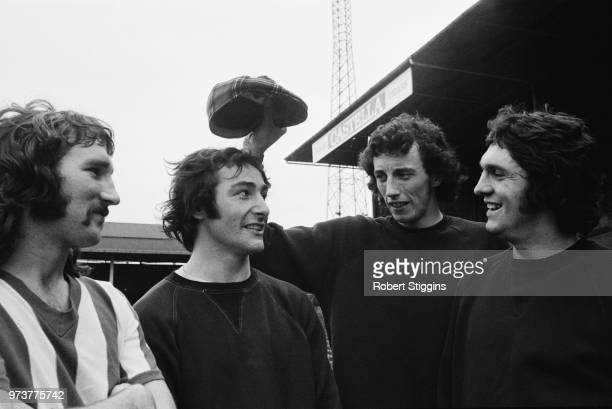 British soccer players of Bristol City FC Gerald Gow , Gerry Sweeney, Tom Ritchie, Donald Gillies, UK, 16th February 1974.