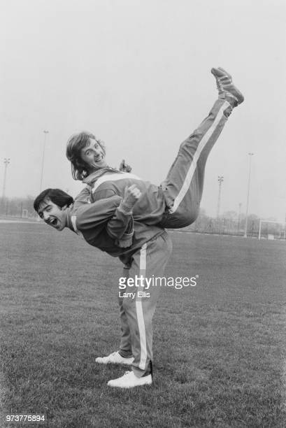 British soccer players of Queens Park Rangers FC Terry Venables and Stan Bowles during training London UK 25th January 1974