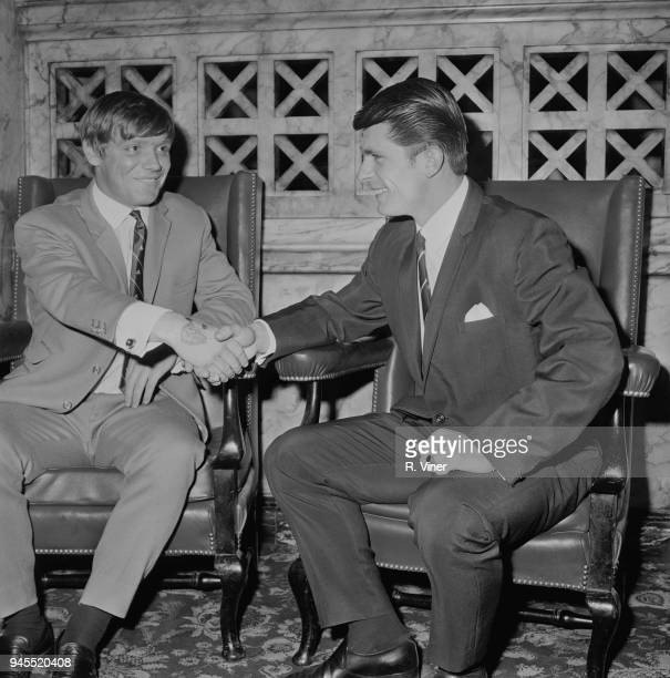 British soccer players Tony Coleman of Manchester City FC and Dietmar Bruck of Coventry City FC shakes hands at Football Association Disciplinary...