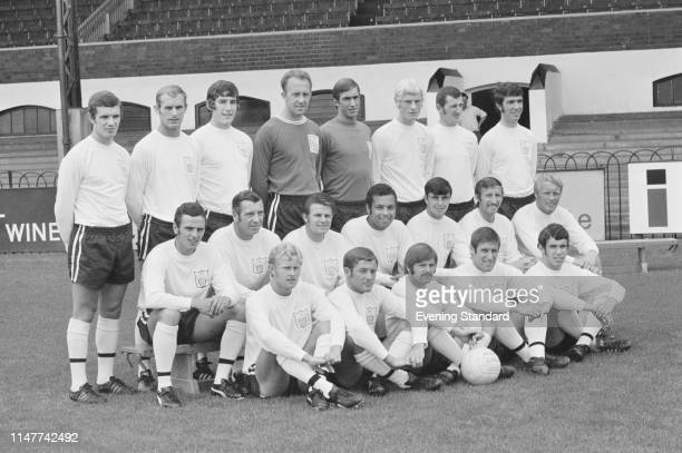 British soccer team Fulham FC, group photo, at Craven Cottage, London, UK, 9th August 1969.