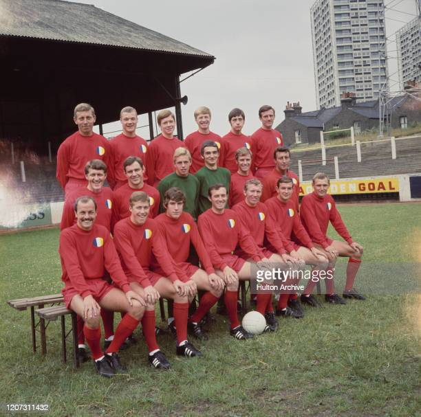 British soccer team Leyton Orient FC group photo UK 5th August 1968 they are Bert Howe Dennis Rofe Terry Brisley Malcolm Slater Graham Archell Johnny...