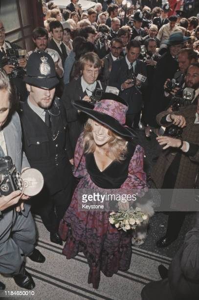 British socialite and fashion model Miranda Quarry arrives at Caxton Hall in London for her wedding to actor Peter Sellers 24th August 1970 She later...
